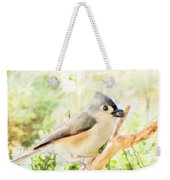 Tufted Titmouse With Seed - Digital Paint Weekender Tote Bag