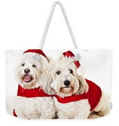 Two Cute Dogs In Santa Outfits Weekender Tote Bag