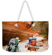 Two Friends Hiking Through The Grand Weekender Tote Bag