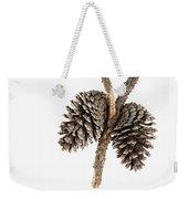 Two Pine Cones One Twig Weekender Tote Bag