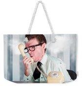 Unhappy Nerd Businessman Yelling Down Retro Phone Weekender Tote Bag