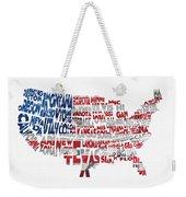 United States Typographic Map Flag Weekender Tote Bag