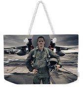 U.s. Air Force Pilot Standing In Front Weekender Tote Bag