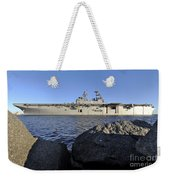 Uss Bataan Arrives At Naval Station Weekender Tote Bag