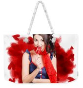 Valentines Day Woman Eating Heart Candy Weekender Tote Bag