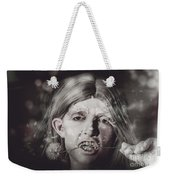 Vampire Woman Holding Flower. Horror Valentine Weekender Tote Bag