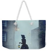 Victorian Woman With An Oil Lamp At Night On A Cobbled Street Weekender Tote Bag
