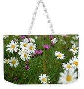 View Of Daisy Flowers In Meadow Weekender Tote Bag