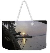 View Of Sunrise From The Window Of A Houseboat Weekender Tote Bag
