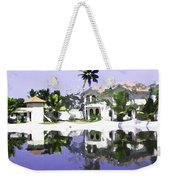 View Of The Cottages And Lagoon Water In Alleppey Weekender Tote Bag