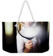 Vintage Archaeologist With Large Magnifying Glass Weekender Tote Bag