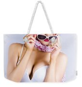 Vintage Blond Beauty In Pinup Fashion Accessories Weekender Tote Bag