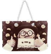 Vintage Music Woman Giving Thumb Up To Retro Songs Weekender Tote Bag