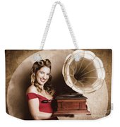 Vintage Pin-up Girl Listening To Record Player Weekender Tote Bag