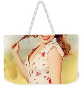 Vintage Pinup Woman With Pretty Make-up And Hair Weekender Tote Bag