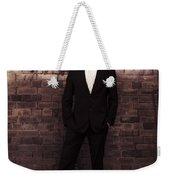 Vintage Salesman Standing In Front Of Brick Wall Weekender Tote Bag