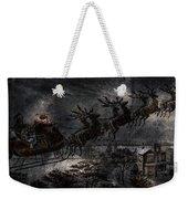 Vintage Santa Stormy Midnight Ride Reindeer Sleigh Weekender Tote Bag