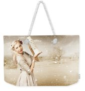 Vintage Woman Dreaming Of A Europe Travel Escape Weekender Tote Bag