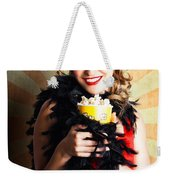 Vintage Woman Eating Popcorn At Movie Premiere Weekender Tote Bag