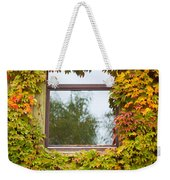 Wall Overgrown With Fall Colored Vine And Ivy Weekender Tote Bag