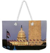 Washington D.c. - Us Flags With Cropped Weekender Tote Bag