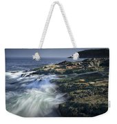 Waves Crashing Against The Shore In Acadia National Park Weekender Tote Bag