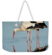 White Storks Ciconia Ciconia In A Lake Weekender Tote Bag