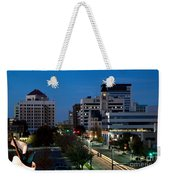 Wichita Skyline At Dusk From Waterwalk Weekender Tote Bag