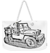 Willys World War Two Army Jeep Illustration Weekender Tote Bag