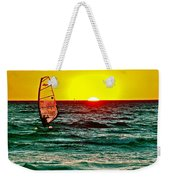 Windsurfer At Sunset On Lake Michigan From Empire-michigan  Weekender Tote Bag