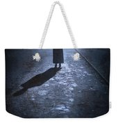 Woman Alone Outside In Fog At Night Weekender Tote Bag