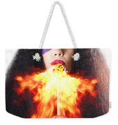 Woman Breathing Fire From Mouth Weekender Tote Bag