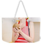 Woman Drinking Coconut Milk In Kitchen Weekender Tote Bag