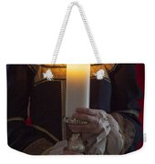 Woman In A Blue Medieval Dress Holding A Candle Weekender Tote Bag