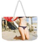 Woman In Bikini Jumping Weekender Tote Bag