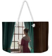 Woman In Georgian Period Dress Reading A Letter By The Window Weekender Tote Bag