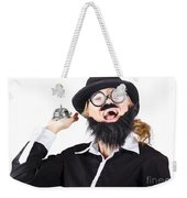 Woman In Mens Clothes With Service Bell Weekender Tote Bag