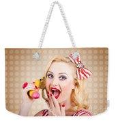 Woman On Banana Telephone. Health Eating News Weekender Tote Bag