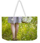 Woman Walking Through A Wild Flower Meadow With A Basket Of Flow Weekender Tote Bag
