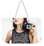 Woman With An Old Camera Weekender Tote Bag