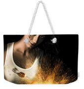 Woman With Angle Grinder Spraying Sparks Weekender Tote Bag