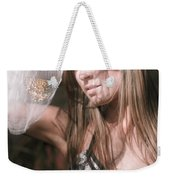 Woman With Butterfly In Net Weekender Tote Bag