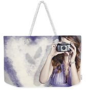Woman With Camera. Love In A Still Frame Capture Weekender Tote Bag