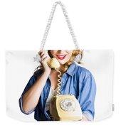 Woman With Retro Telephone Weekender Tote Bag