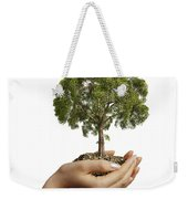 Womans Hands Holding Soil With A Tree Weekender Tote Bag
