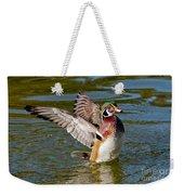 Wood Duck Drake Flapping Wings Weekender Tote Bag