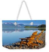 Wooden Deckchairs Overlooking Scenic Lake Laberge Weekender Tote Bag