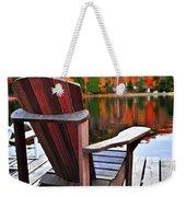 Wooden Dock On Autumn Lake Weekender Tote Bag by Elena Elisseeva