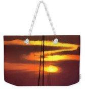 Yacht At Sunset Weekender Tote Bag