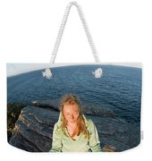 Yoga On Rocky Outcrop Above Ocean Weekender Tote Bag